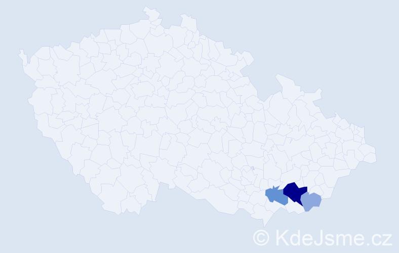 Příjmení: 'Blahůšová', počet výskytů 10 v celé ČR