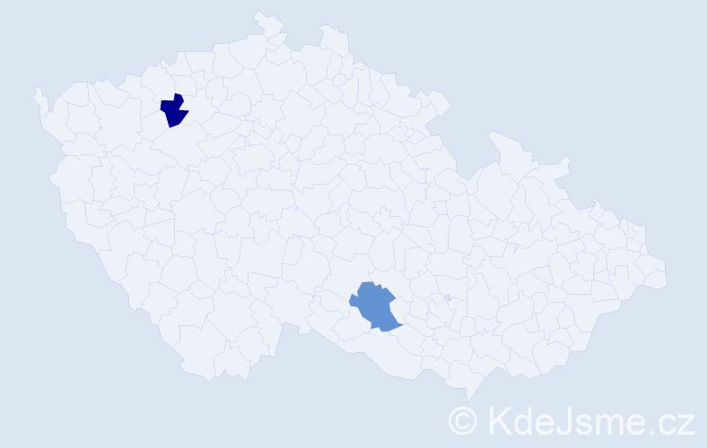 Příjmení: 'Jackiwová', počet výskytů 2 v celé ČR