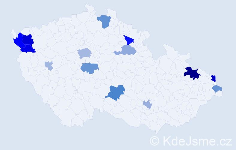 Příjmení: 'Kara', počet výskytů 29 v celé ČR