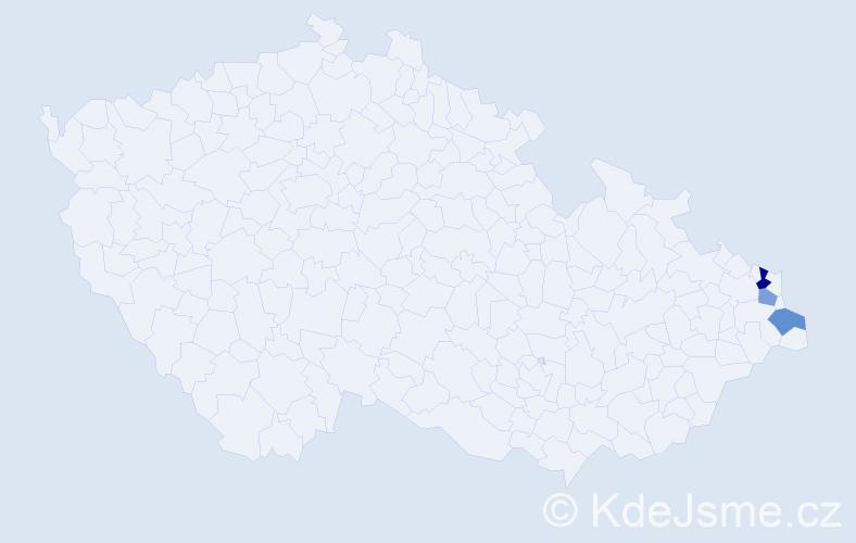 Příjmení: 'Čač', počet výskytů 4 v celé ČR