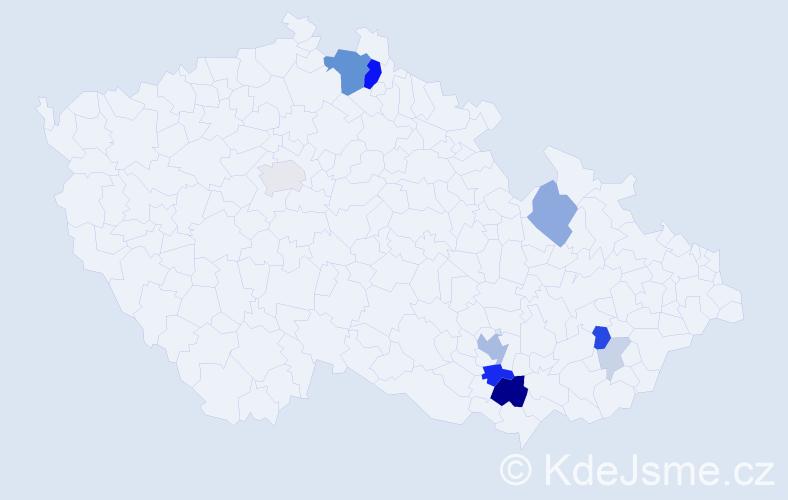 Příjmení: 'Jégrová', počet výskytů 32 v celé ČR