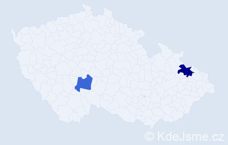 Příjmení: 'Last', počet výskytů 3 v celé ČR