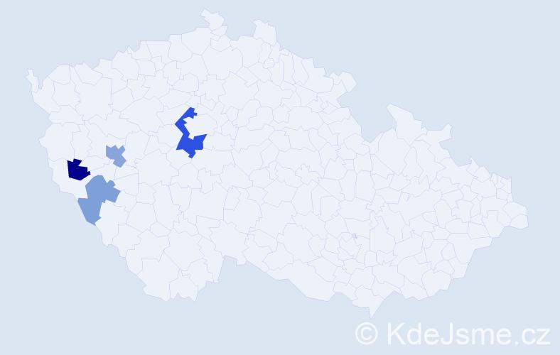 Příjmení: 'Kastelic', počet výskytů 8 v celé ČR