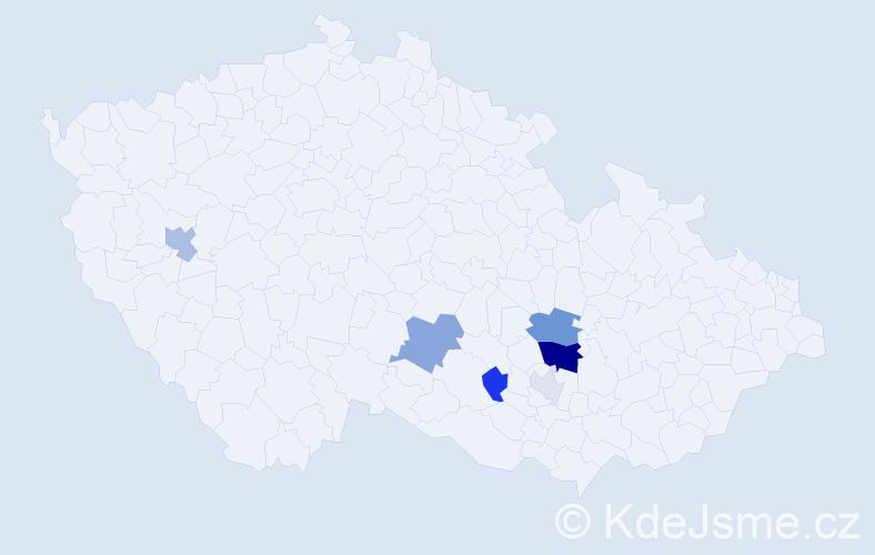 Příjmení: 'Knihař', počet výskytů 14 v celé ČR