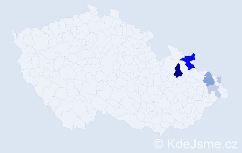 Příjmení: 'Hažíková', počet výskytů 15 v celé ČR