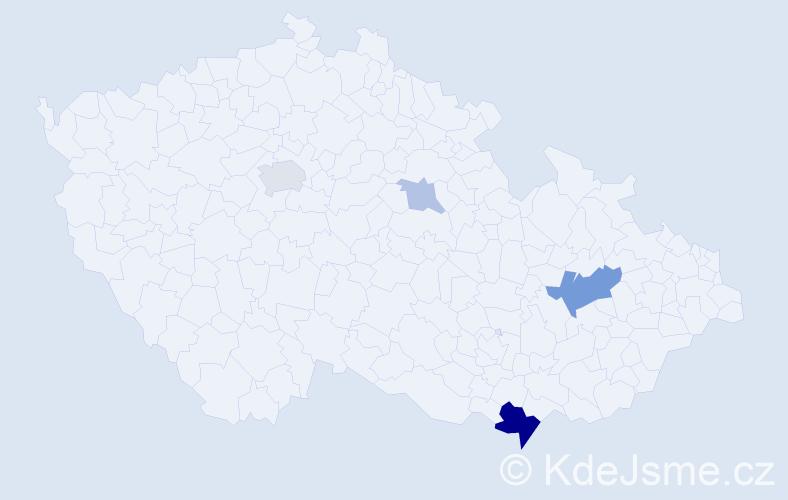 Příjmení: 'Kožďálová', počet výskytů 11 v celé ČR
