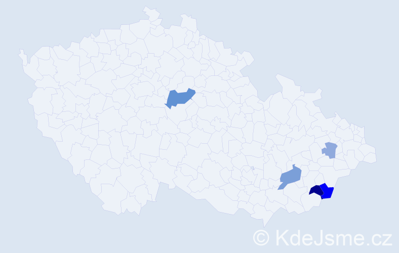 Příjmení: 'Haraga', počet výskytů 10 v celé ČR