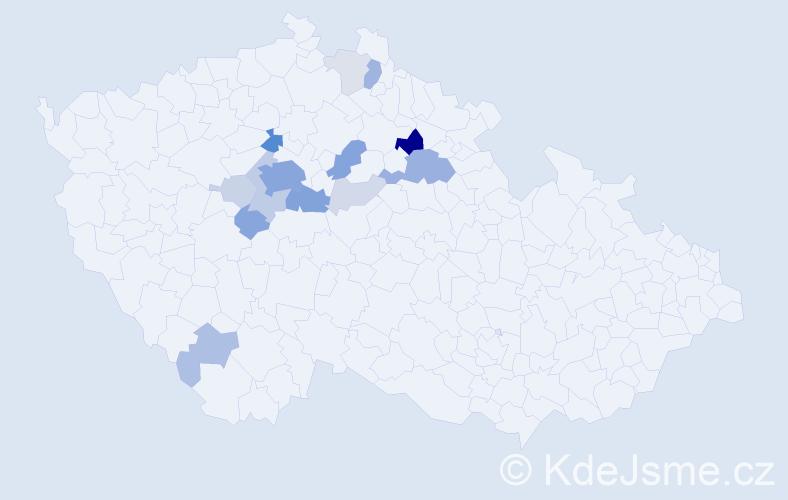 Příjmení: 'Hrášek', počet výskytů 58 v celé ČR