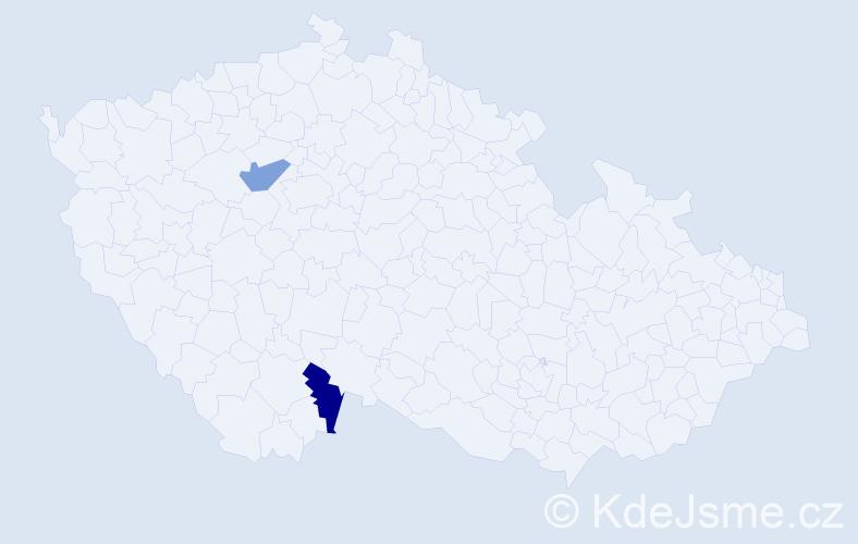 Příjmení: 'Kreglová', počet výskytů 6 v celé ČR