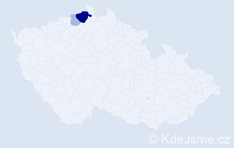 Příjmení: 'Deli', počet výskytů 6 v celé ČR
