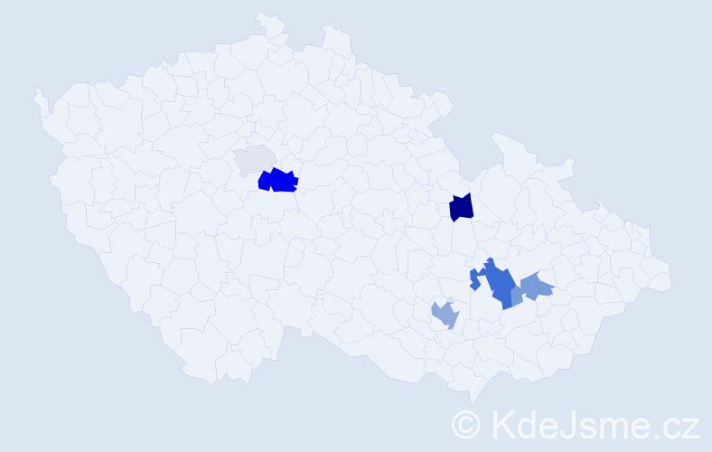 Příjmení: 'Kašina', počet výskytů 9 v celé ČR