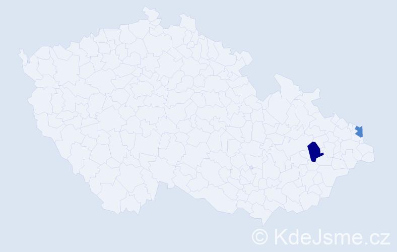 Příjmení: 'Haizerová', počet výskytů 2 v celé ČR