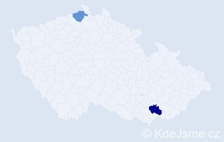 Příjmení: 'Hashemi', počet výskytů 3 v celé ČR