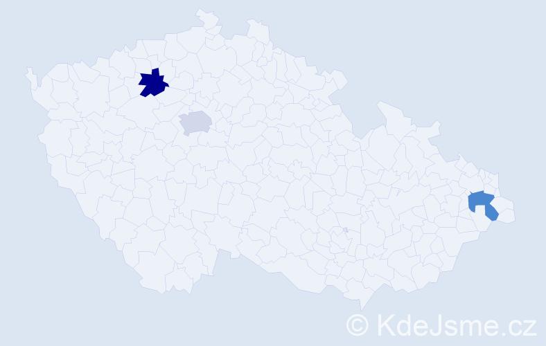 Příjmení: 'Koľveková', počet výskytů 3 v celé ČR
