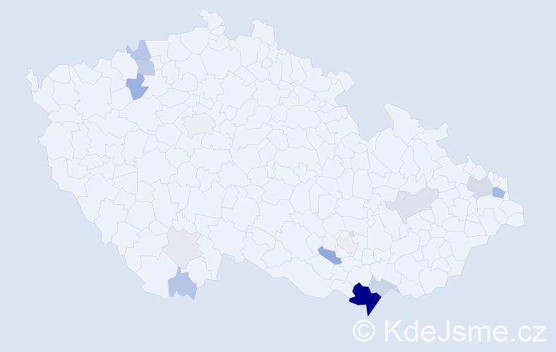 Příjmení: 'Hakalová', počet výskytů 54 v celé ČR