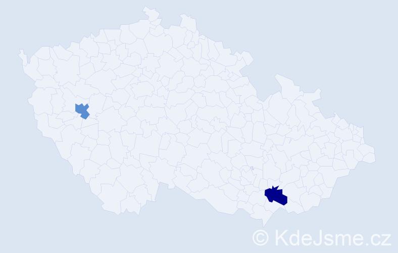 Příjmení: 'Csomová', počet výskytů 2 v celé ČR