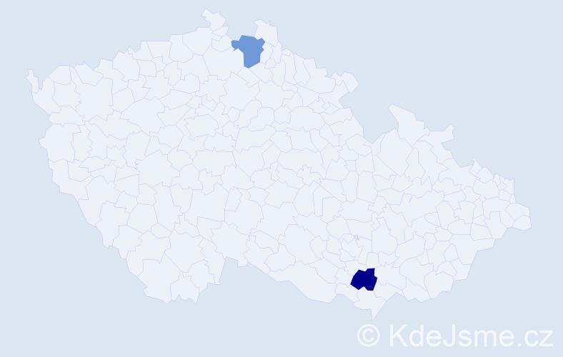 Příjmení: 'Bayram', počet výskytů 4 v celé ČR