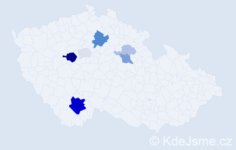 Příjmení: 'Kerlesová', počet výskytů 19 v celé ČR