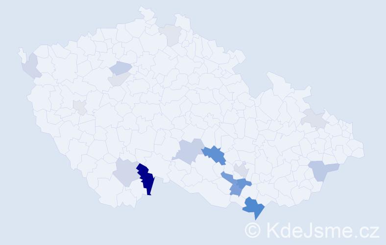 Příjmení: 'Cypris', počet výskytů 40 v celé ČR