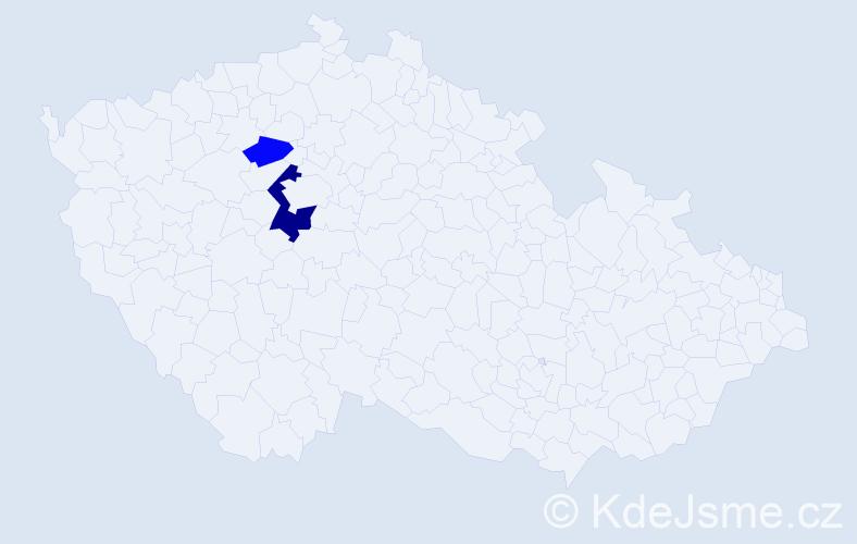 Příjmení: 'Cechman', počet výskytů 4 v celé ČR