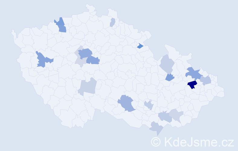 Příjmení: 'Green', počet výskytů 56 v celé ČR