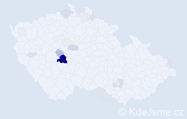 Příjmení: 'Čejda', počet výskytů 68 v celé ČR