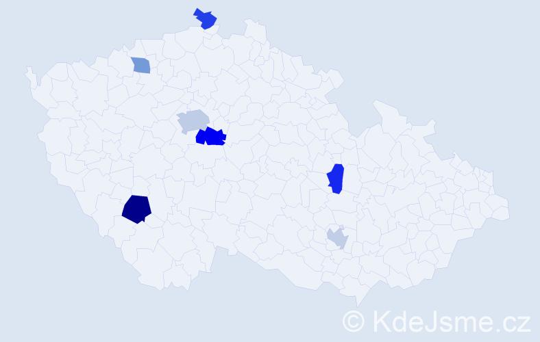 Příjmení: 'Gajić', počet výskytů 11 v celé ČR
