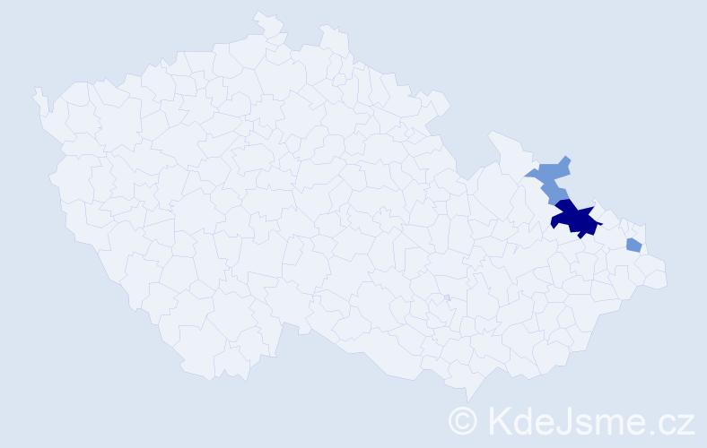 Příjmení: 'Čajnáková', počet výskytů 9 v celé ČR