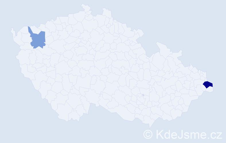 Příjmení: 'Kaputová', počet výskytů 7 v celé ČR