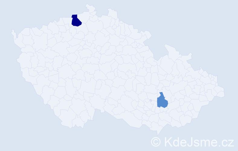 Příjmení: 'Kody', počet výskytů 5 v celé ČR