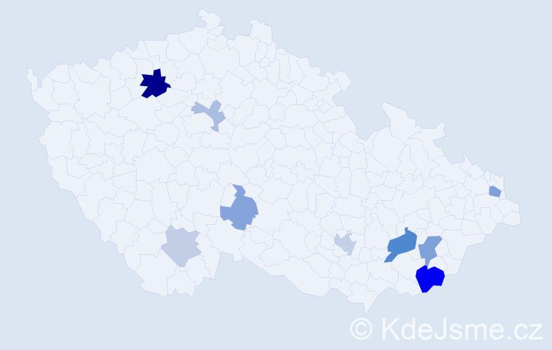 Příjmení: 'Jurčička', počet výskytů 20 v celé ČR