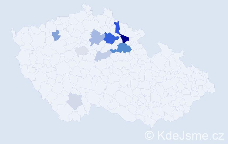 Příjmení: 'Klouza', počet výskytů 26 v celé ČR