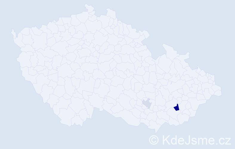 Příjmení: 'Ceroni', počet výskytů 4 v celé ČR