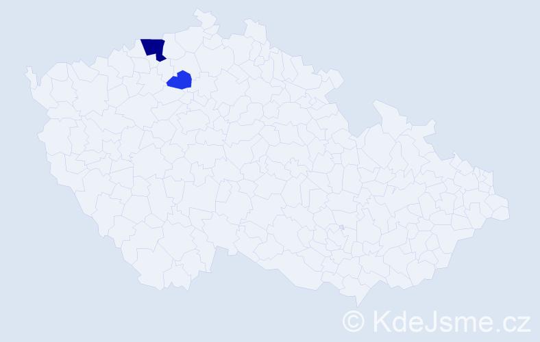 Příjmení: 'Hramotová', počet výskytů 5 v celé ČR