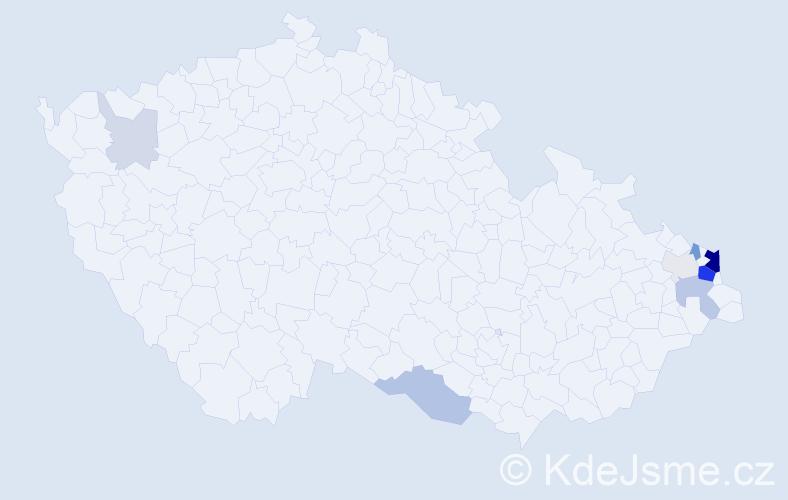 Příjmení: 'Febrová', počet výskytů 33 v celé ČR
