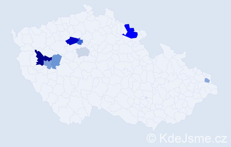 Příjmení: 'Hirmerová', počet výskytů 16 v celé ČR