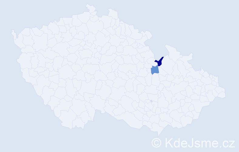 Příjmení: 'Ďurovská', počet výskytů 2 v celé ČR