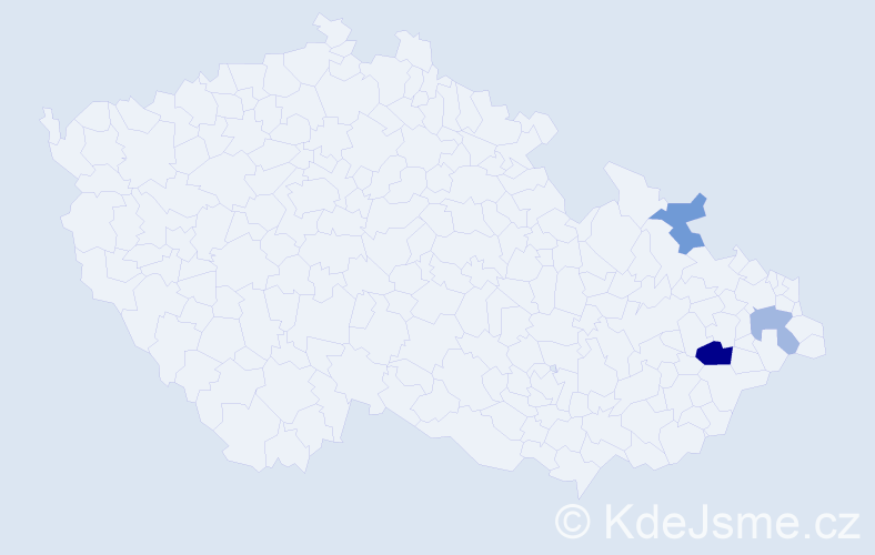 Příjmení: 'Borothová', počet výskytů 5 v celé ČR