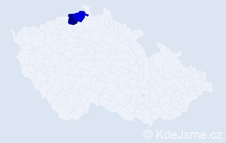 Příjmení: 'Bubenik', počet výskytů 5 v celé ČR