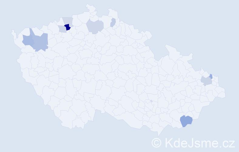 Příjmení: 'Kallay', počet výskytů 18 v celé ČR