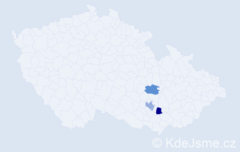 """Příjmení: '""""Ballon Mierny""""', počet výskytů 4 v celé ČR"""