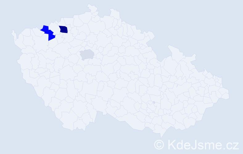 Příjmení: 'Kanajlová', počet výskytů 4 v celé ČR