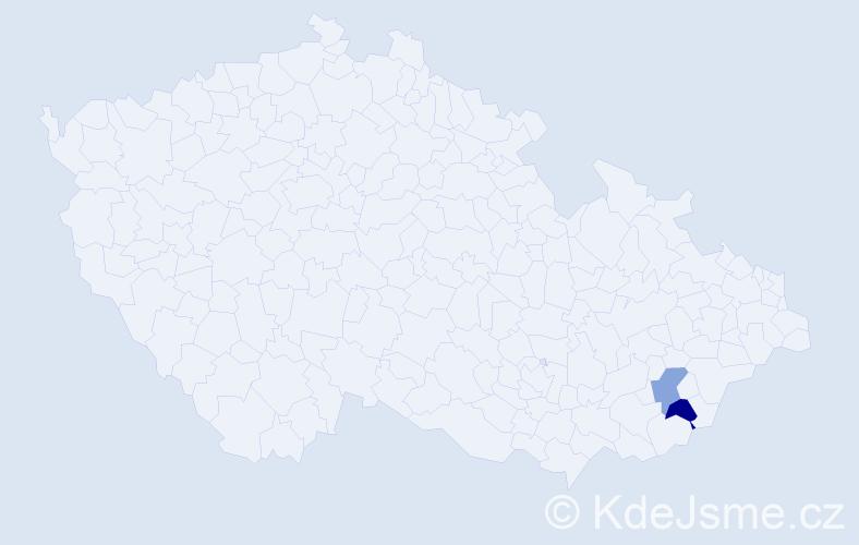 Příjmení: 'Gyuricsek', počet výskytů 8 v celé ČR