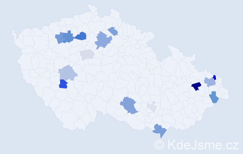 Příjmení: 'Illés', počet výskytů 29 v celé ČR