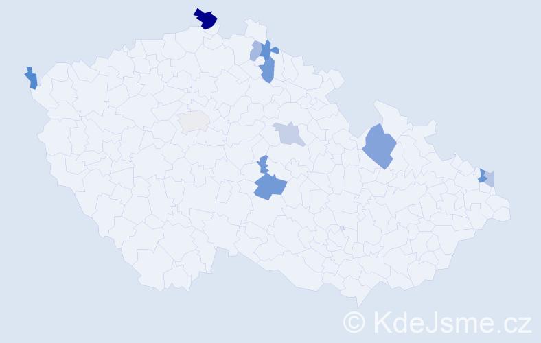 Příjmení: 'Jäckelová', počet výskytů 17 v celé ČR