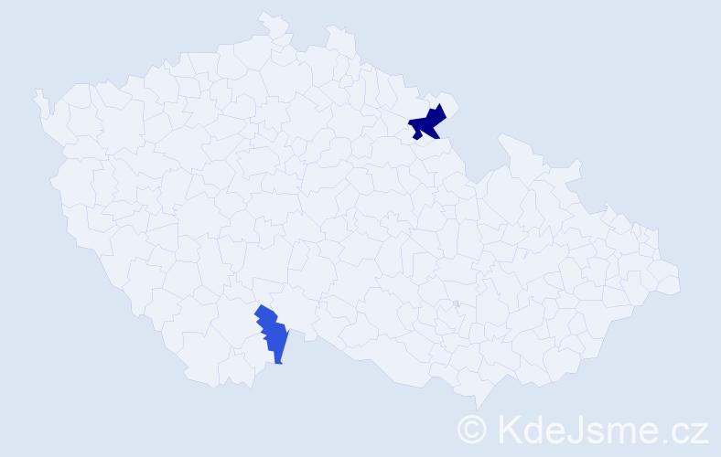 Příjmení: 'Gladicsová', počet výskytů 5 v celé ČR
