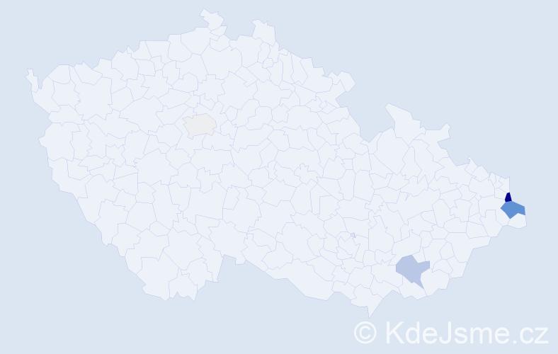 Příjmení: 'Gulisová', počet výskytů 14 v celé ČR