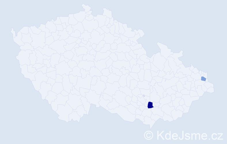 Příjmení: 'Eineigelová', počet výskytů 2 v celé ČR
