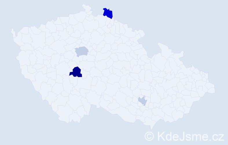 Příjmení: 'Hermel', počet výskytů 6 v celé ČR