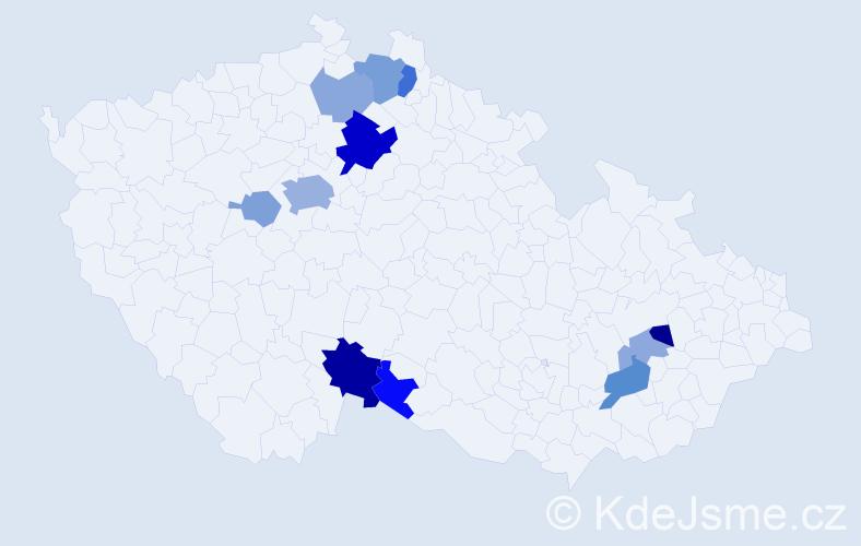 Příjmení: 'Kadlasová', počet výskytů 27 v celé ČR